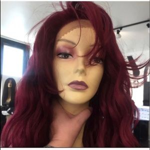Accessories - Burgundy wig 6X6 free-parting Wavy Long Lacefront